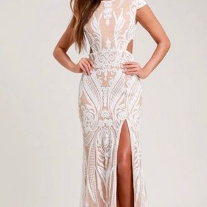 NWOT Ryse Nude White Sequined Emily Cut Out Dress